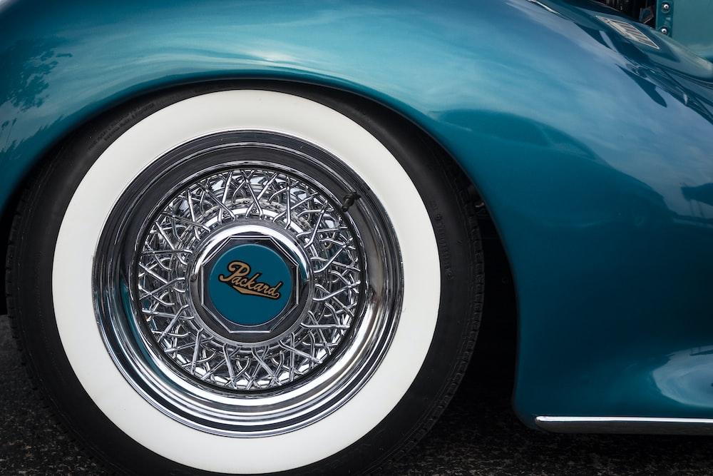 blue and white car wheel