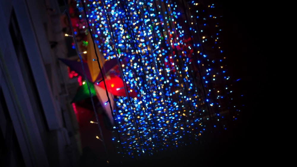 blue and red string lights