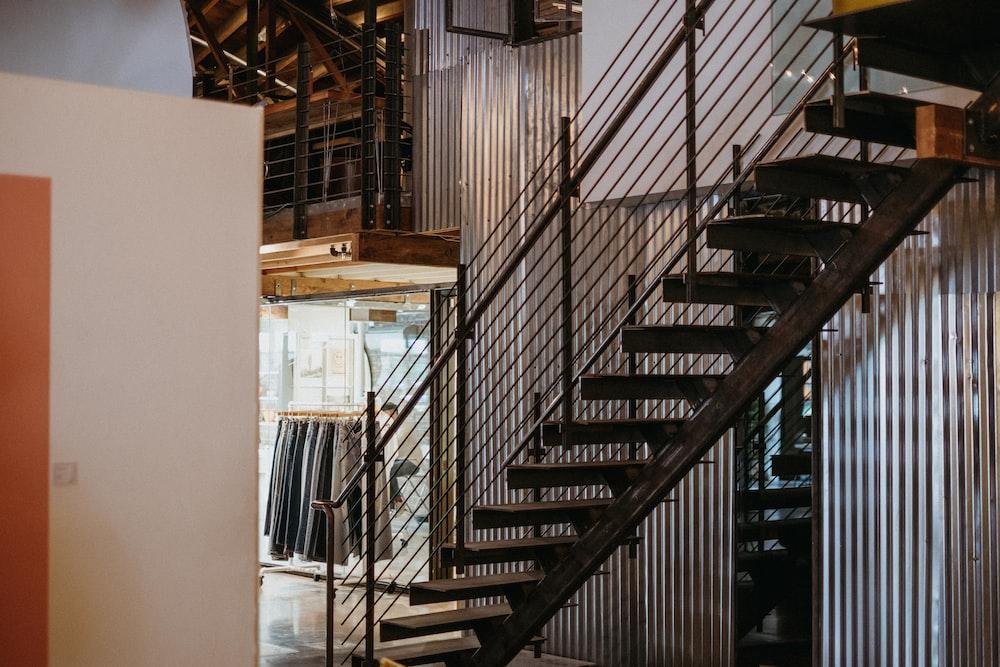 black metal staircase in room