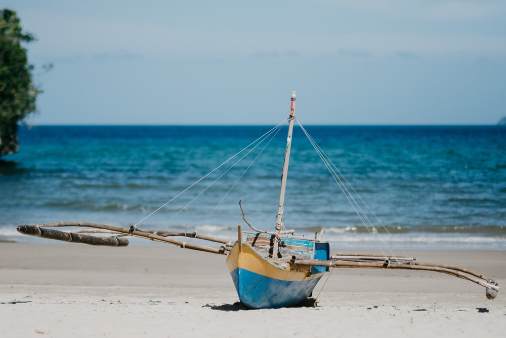 blue and brown boat on beach during daytime
