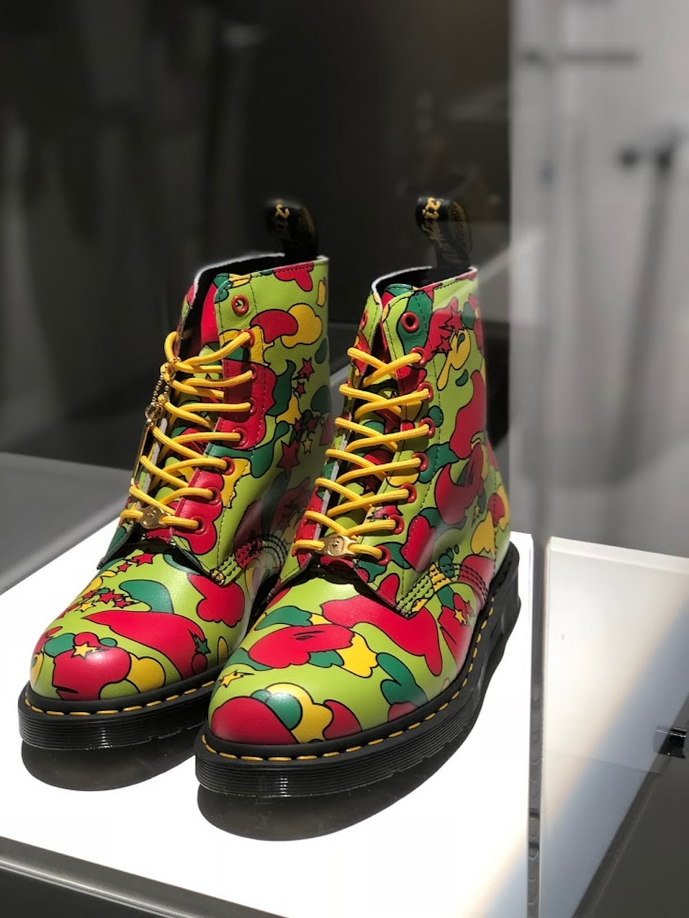 black green and red high top sneakers