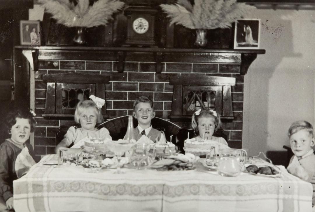 Three Girls & Two Boys Celebrating Girl's Birthday, Dining Room, Caulfield, 1946
