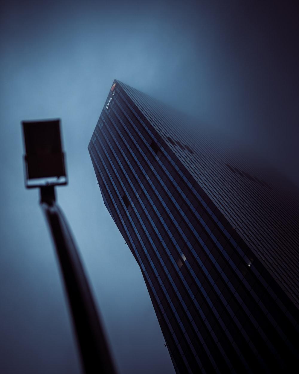 black and white light post
