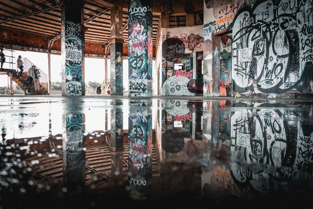white red and black graffiti