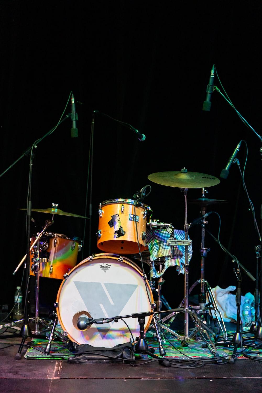 orange and white drum set