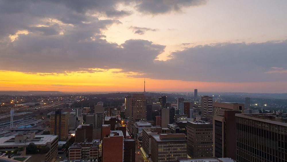 city skyline during golden hour