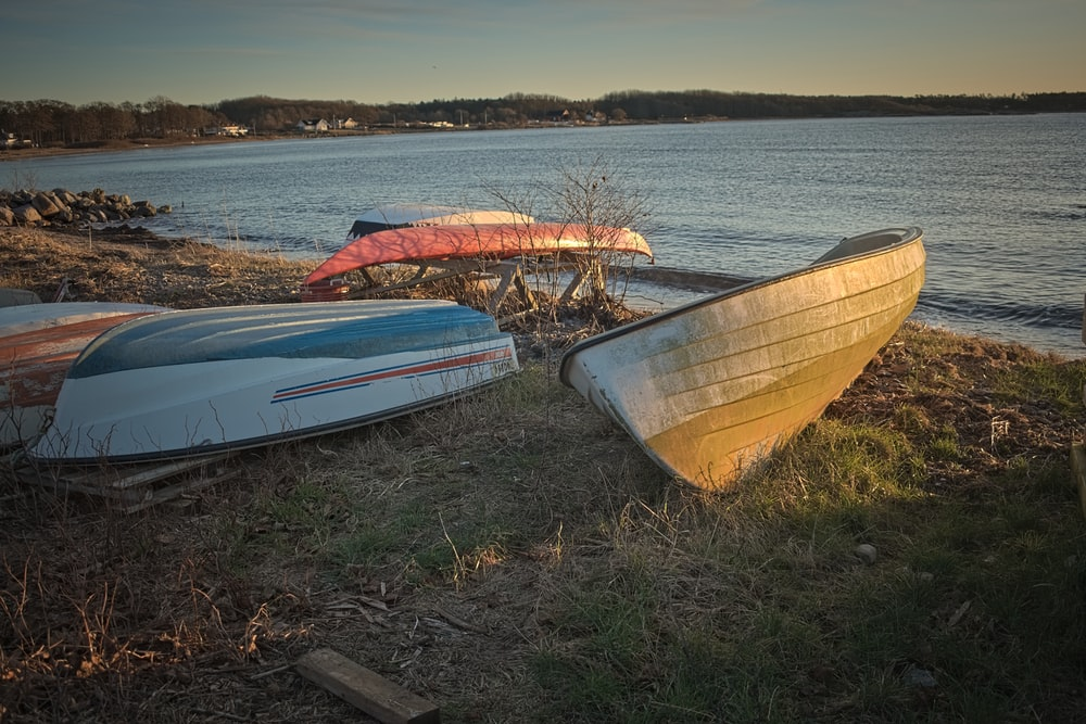 white and red boat on brown grass field near body of water during daytime
