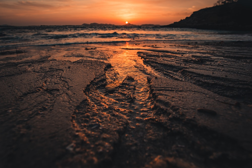 brown sand with body of water during sunset
