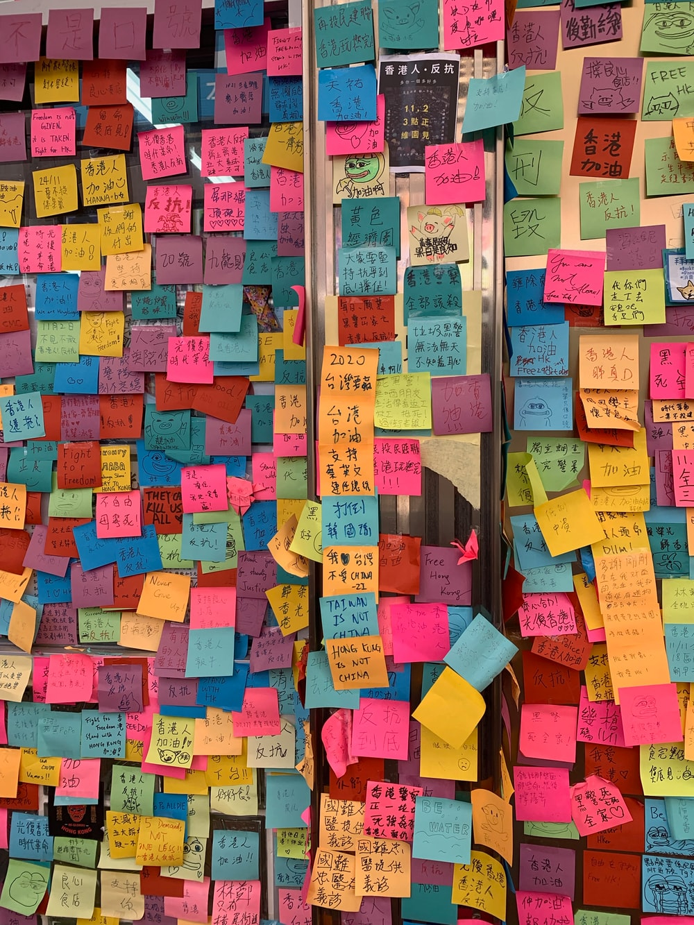multi colored sticky notes on wall