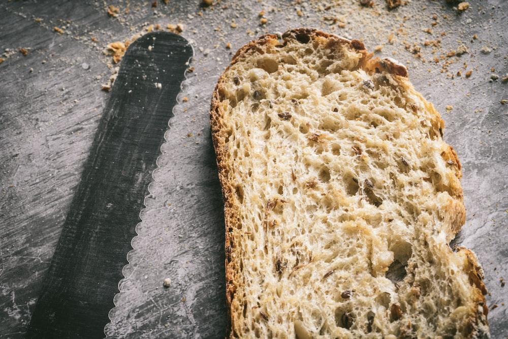 brown bread on black textile