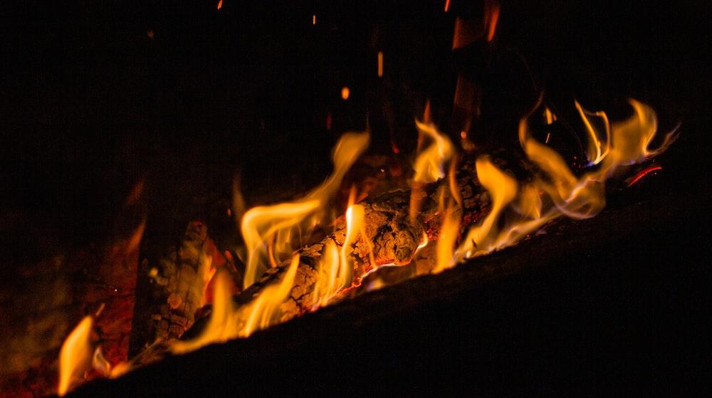 burning wood during night time