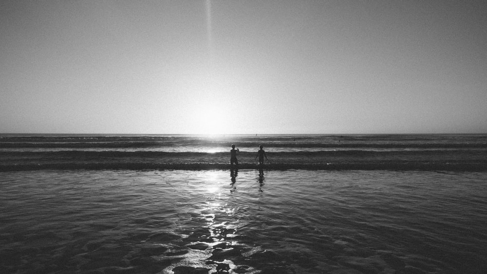 silhouette of 2 person standing on sea shore during daytime