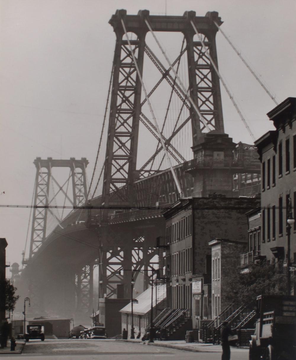 grayscale photo of Williamsburg bridge