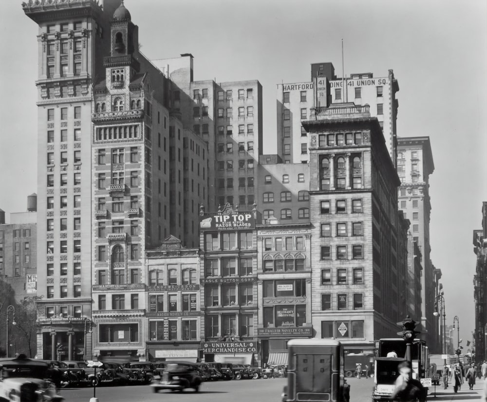 grayscale photo of Union Square