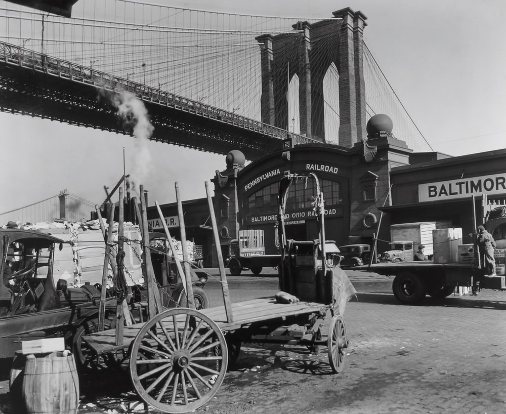grayscale photo of Brooklyn Bridge