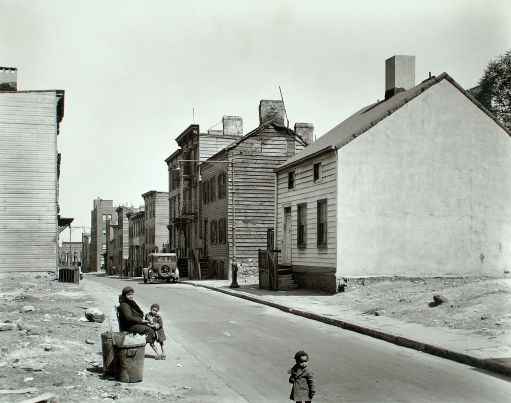 grayscale photo of Brooklyn street