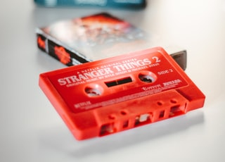 red and black cassette tape