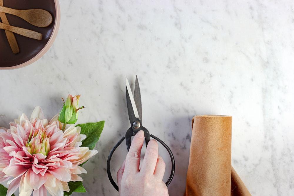 person holding black handled scissors
