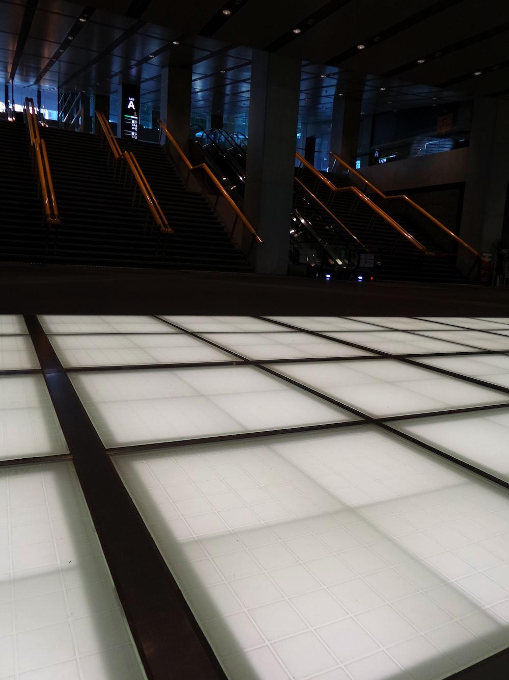white and black tiled floor