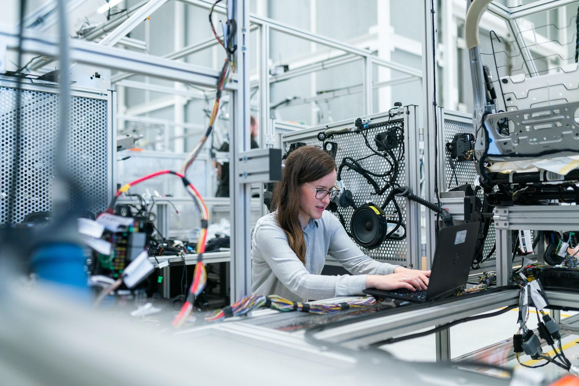 Female electronics engineer runs vehicle tests