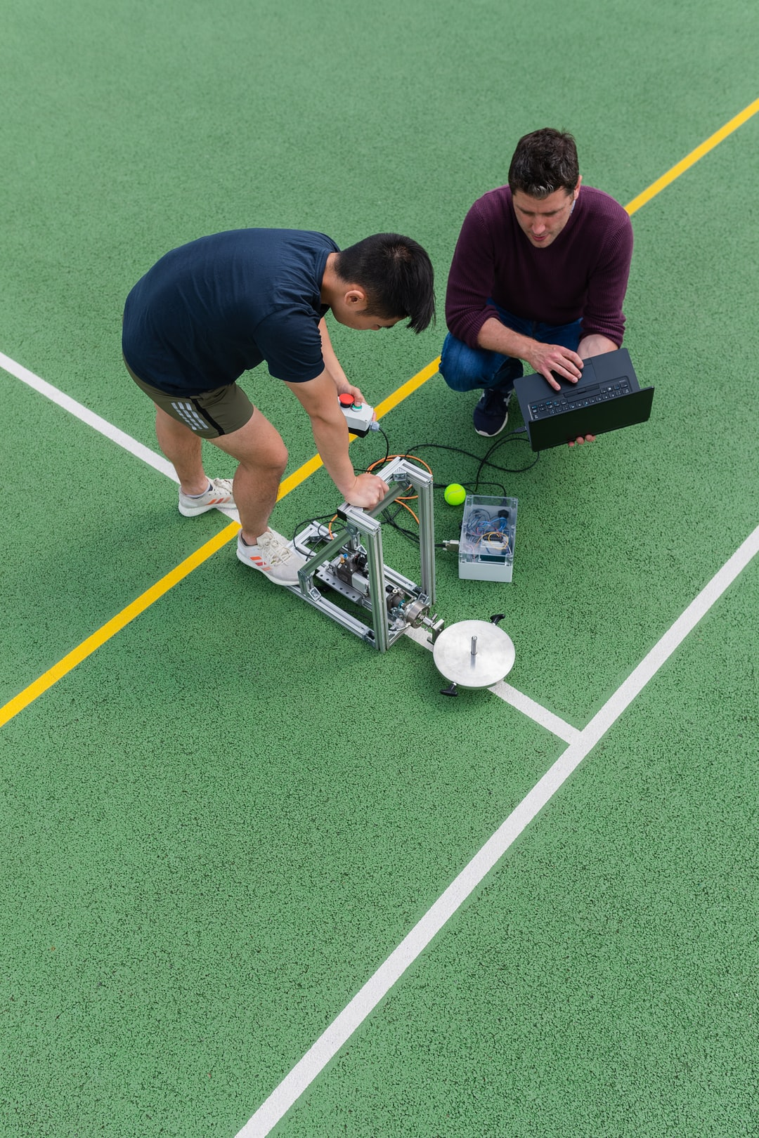 Sports engineers test tennis equipment