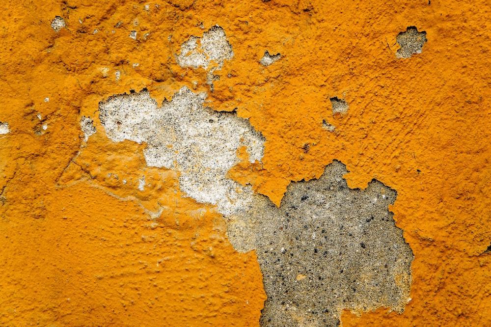 orange and white concrete wall