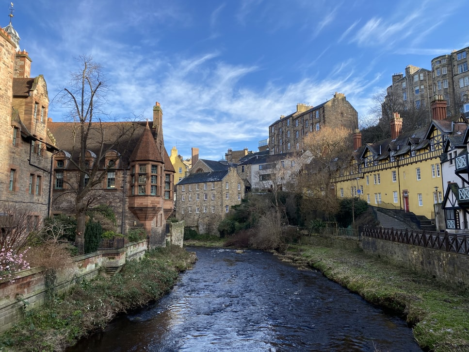 the leith river flowing through Dean village: a scenic snap
