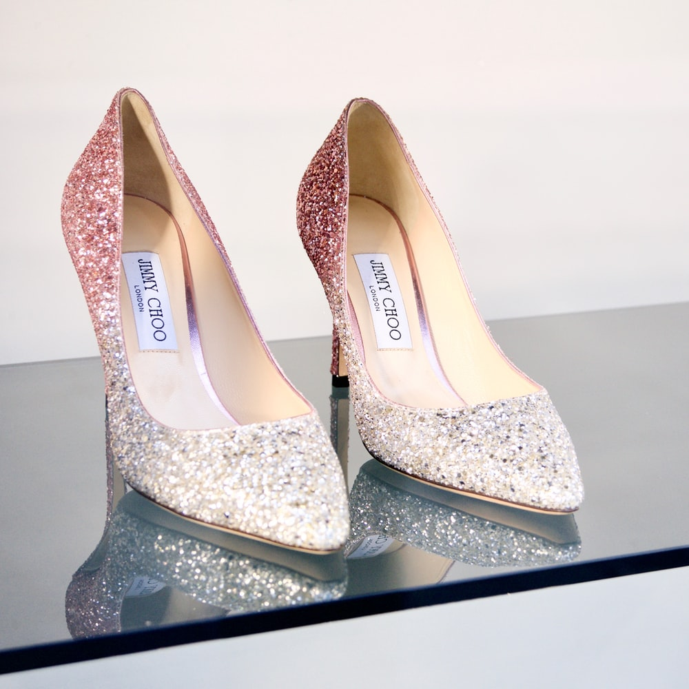 womens white and silver peep toe pumps