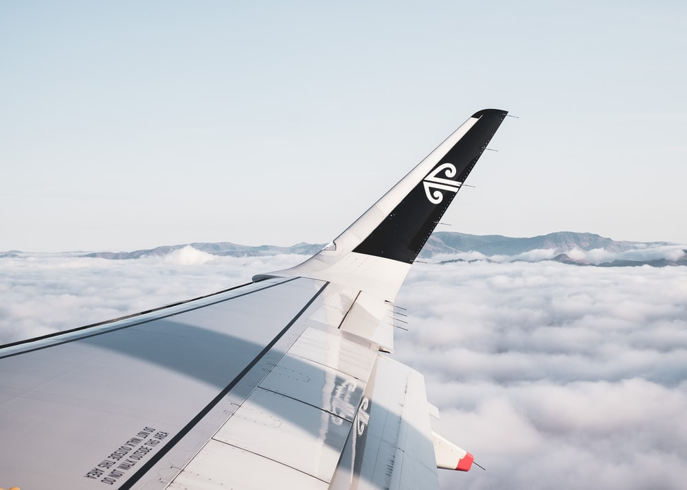 white and gray airplane wing