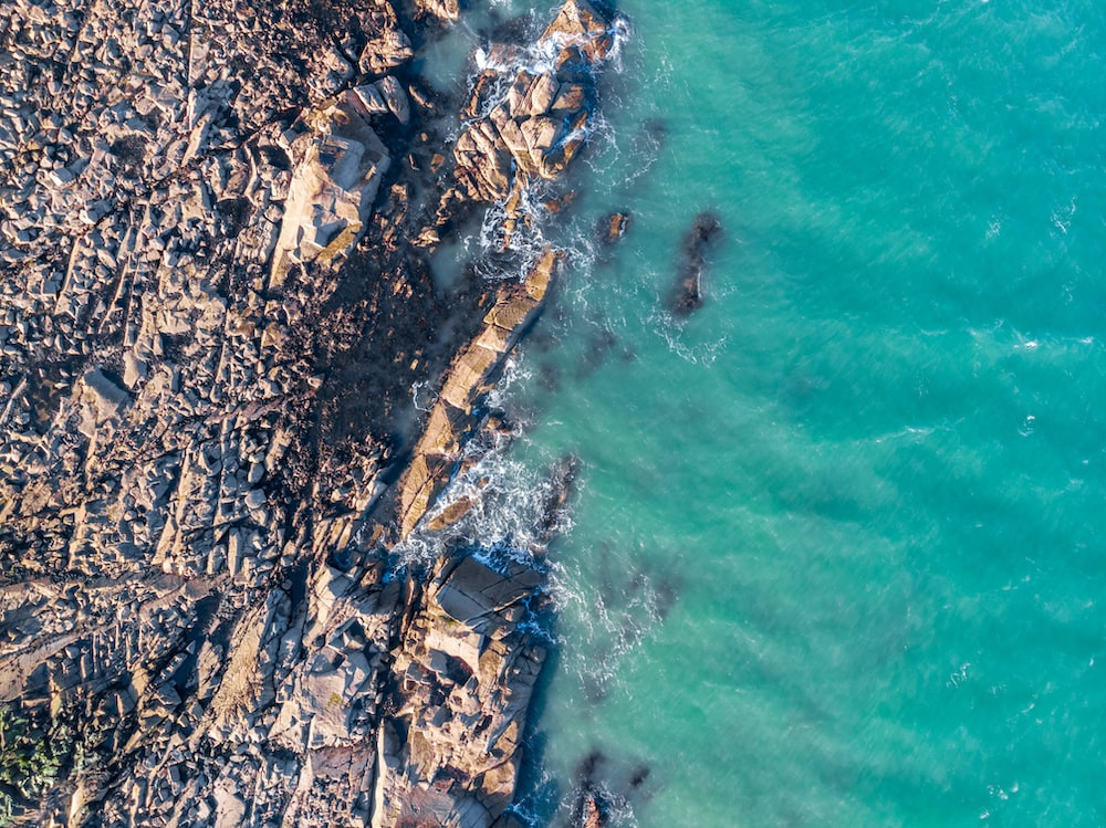 aerial view of rocky shore during daytime