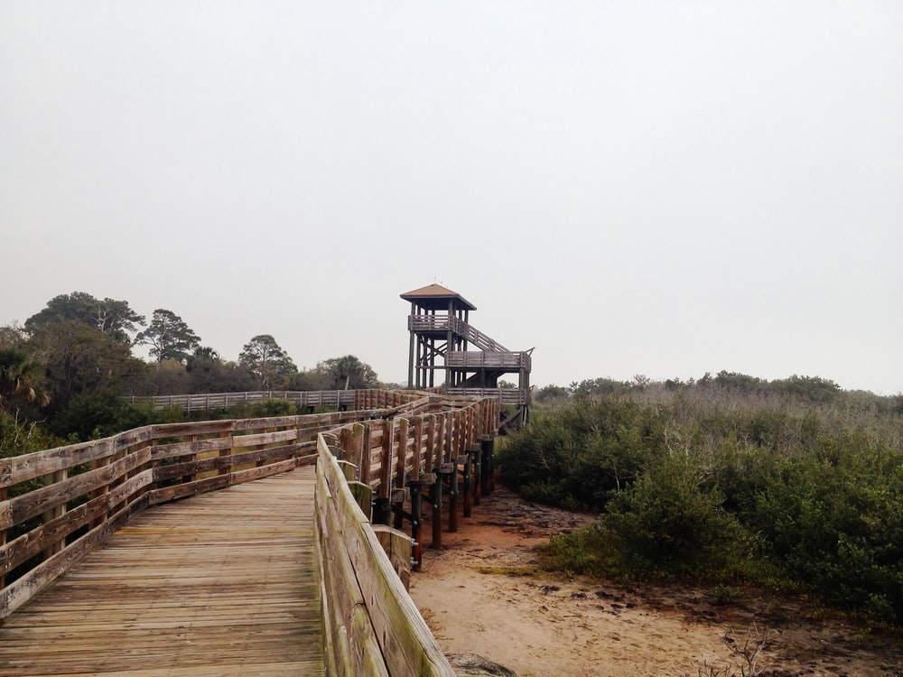 brown wooden bridge near brown wooden house during daytime