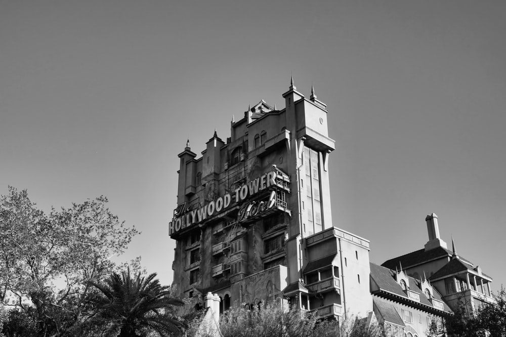 grayscale photo of UNK building