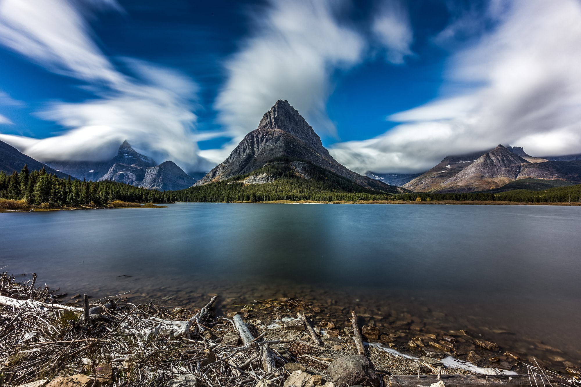 """Slowly Moving"" Swiftcurrent Lake, Glacier National Park."