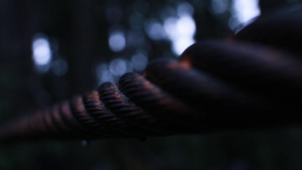 brown rope in tilt shift lens