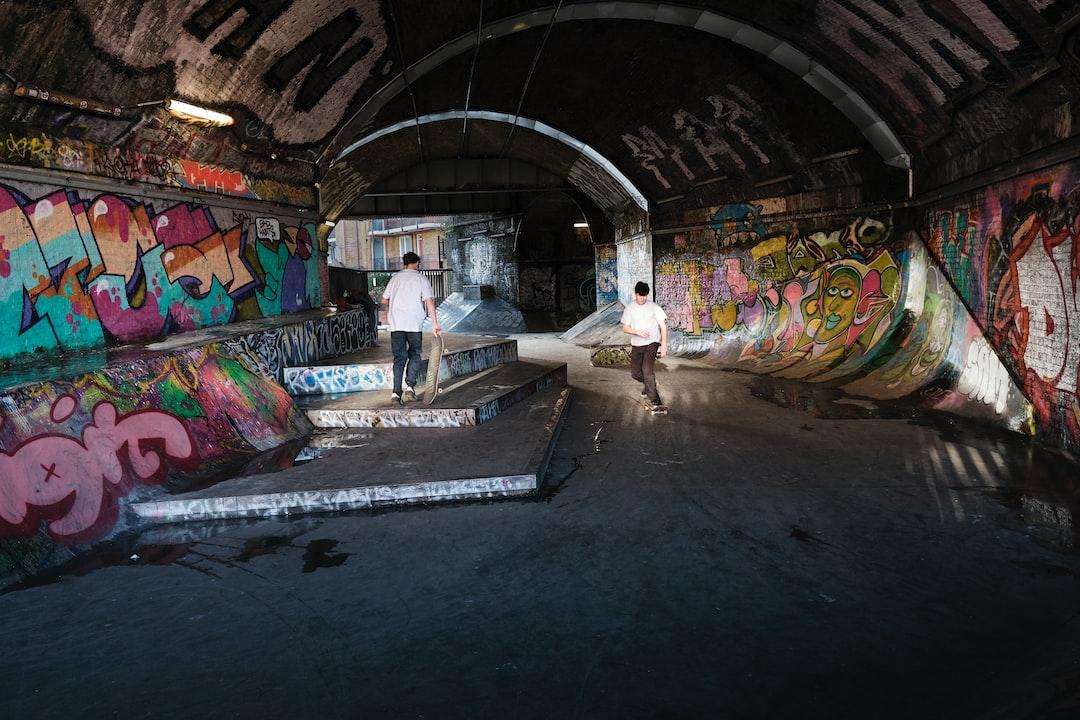 Awesome skateboard and graffiti spot, under subway line, South London. White Grounds Skatepark.