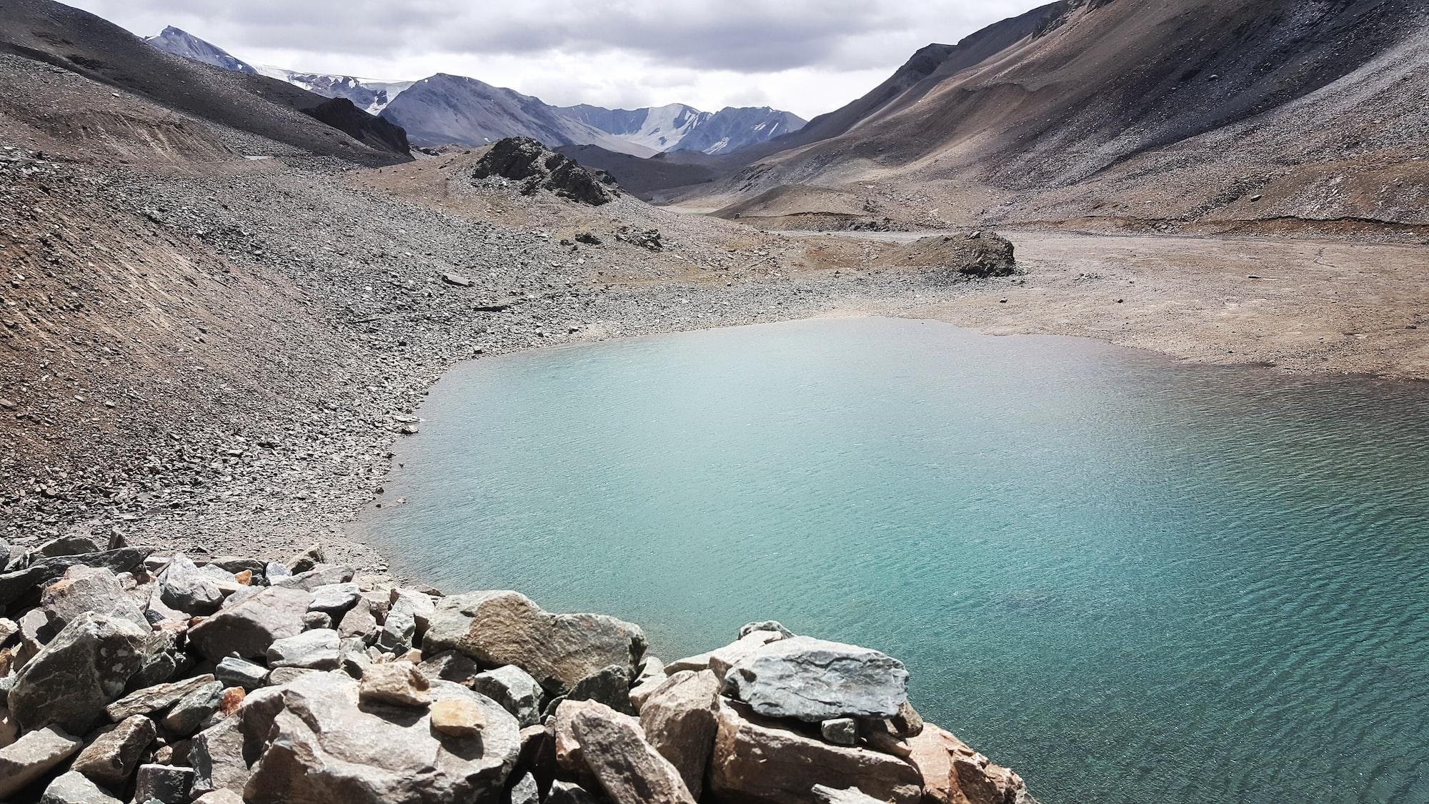Beautiful lake and mountains in Indian Himalayas, Ladakh region 🇮🇳