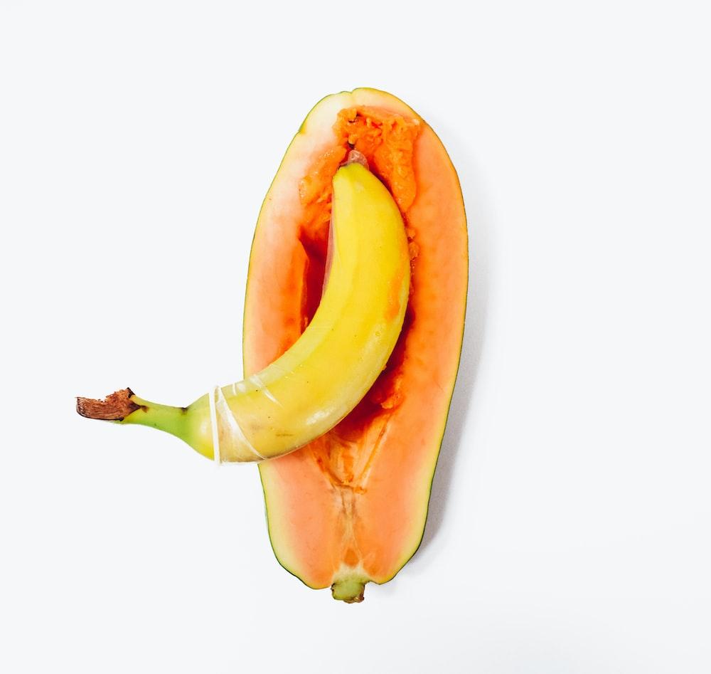 yellow banana on white surface