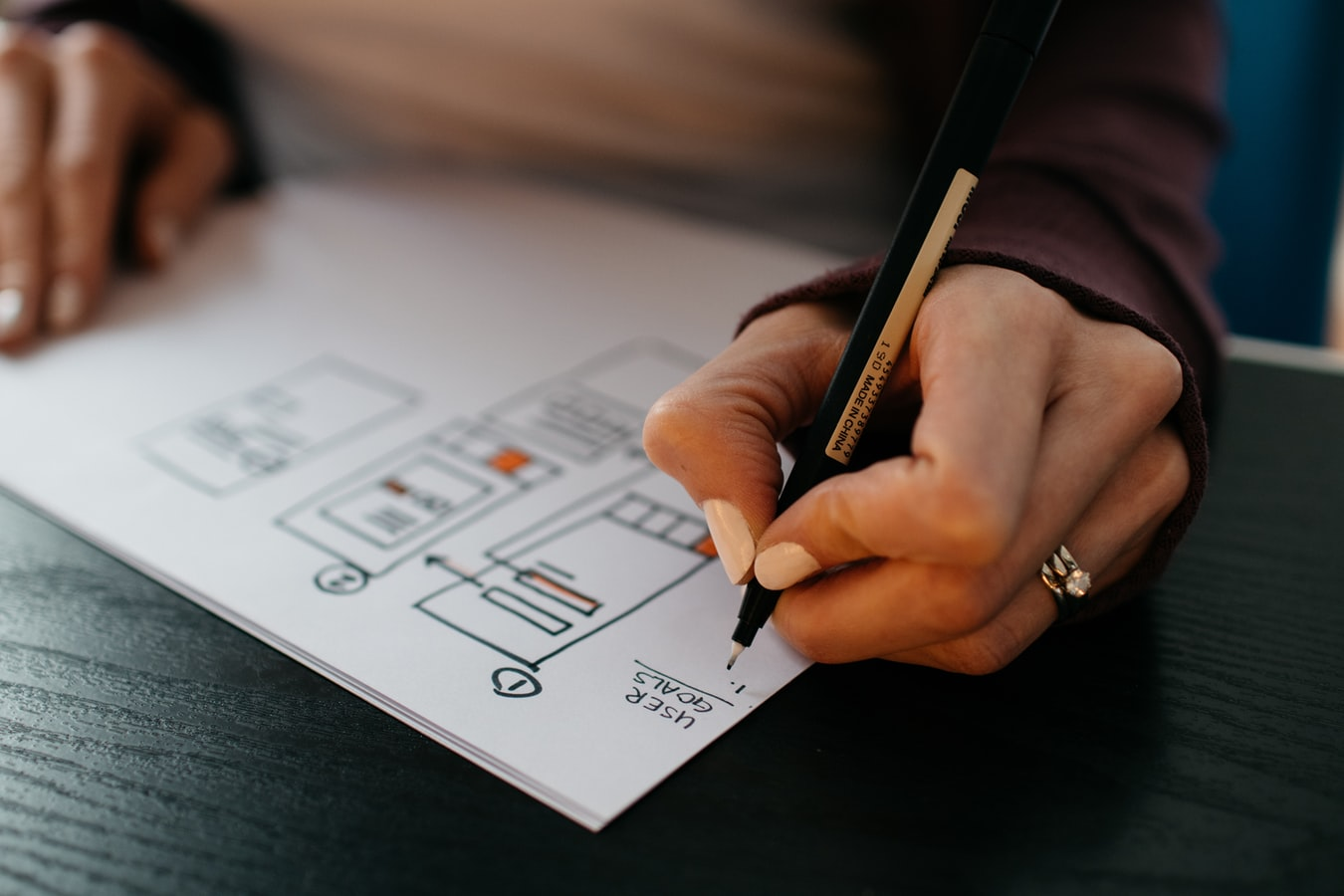 Hand holding a pen and drawing user journey diagrams