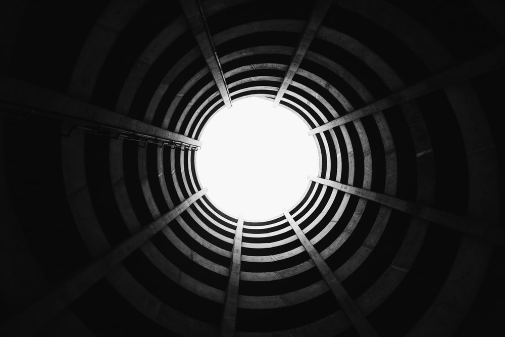 black and white round ceiling