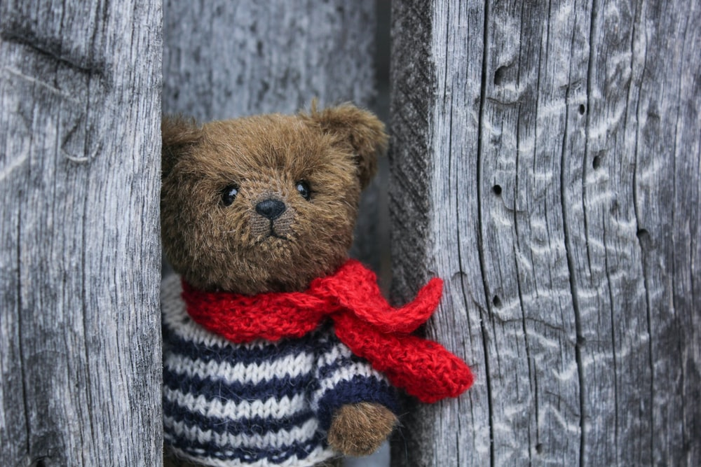 brown bear in red and white striped knit sweater