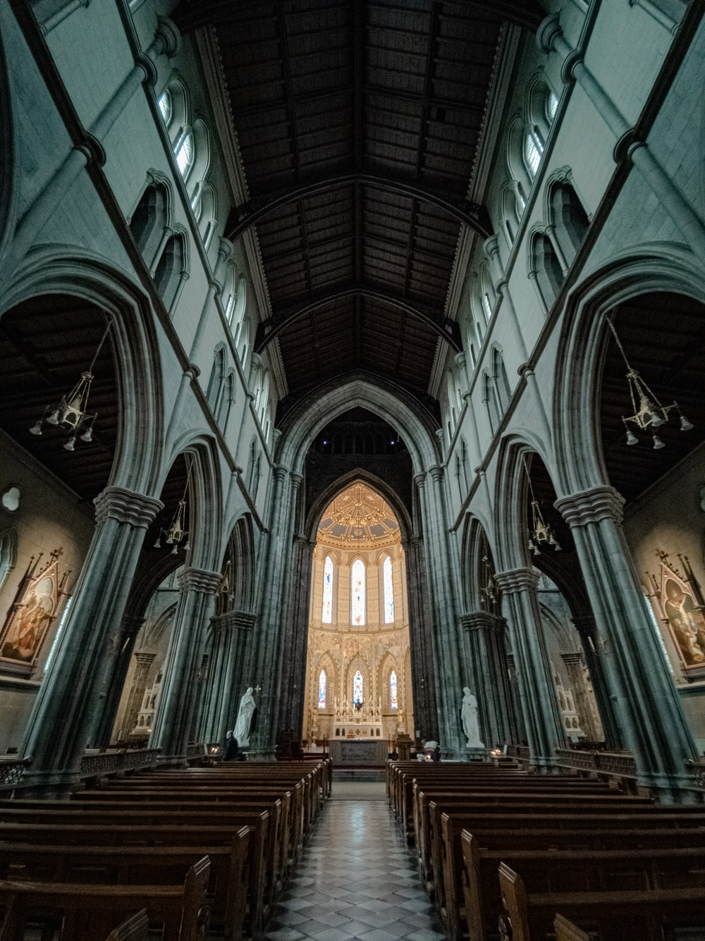 gray and brown cathedral interior