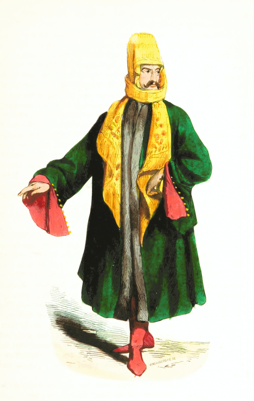 person in green and yellow traditional dress