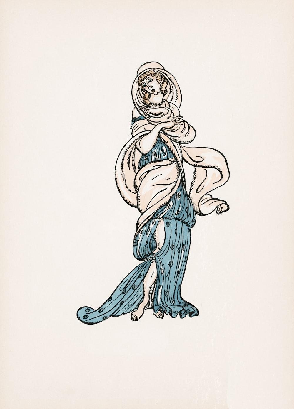 woman in blue dress illustration