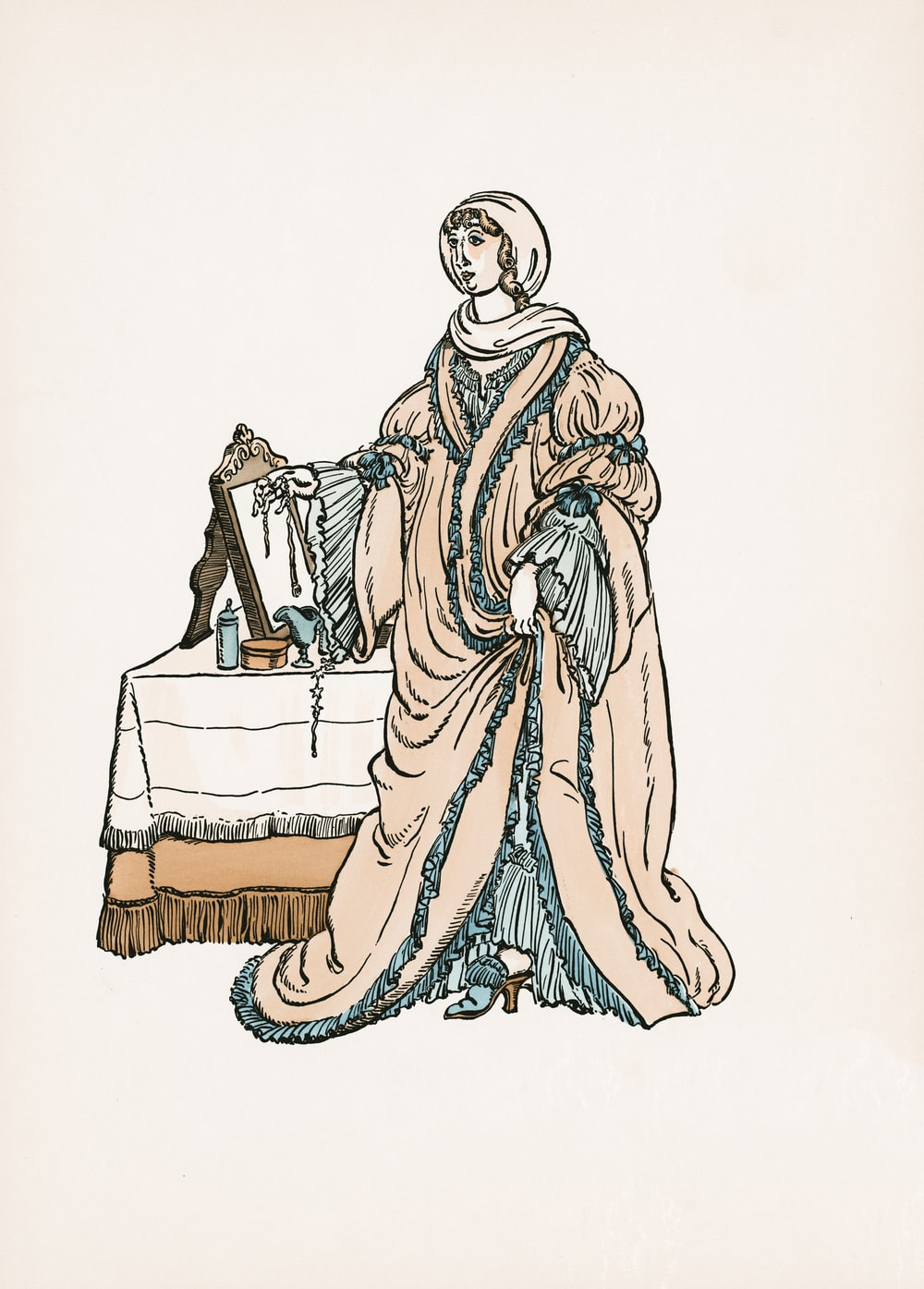 woman in white and brown dress illustration