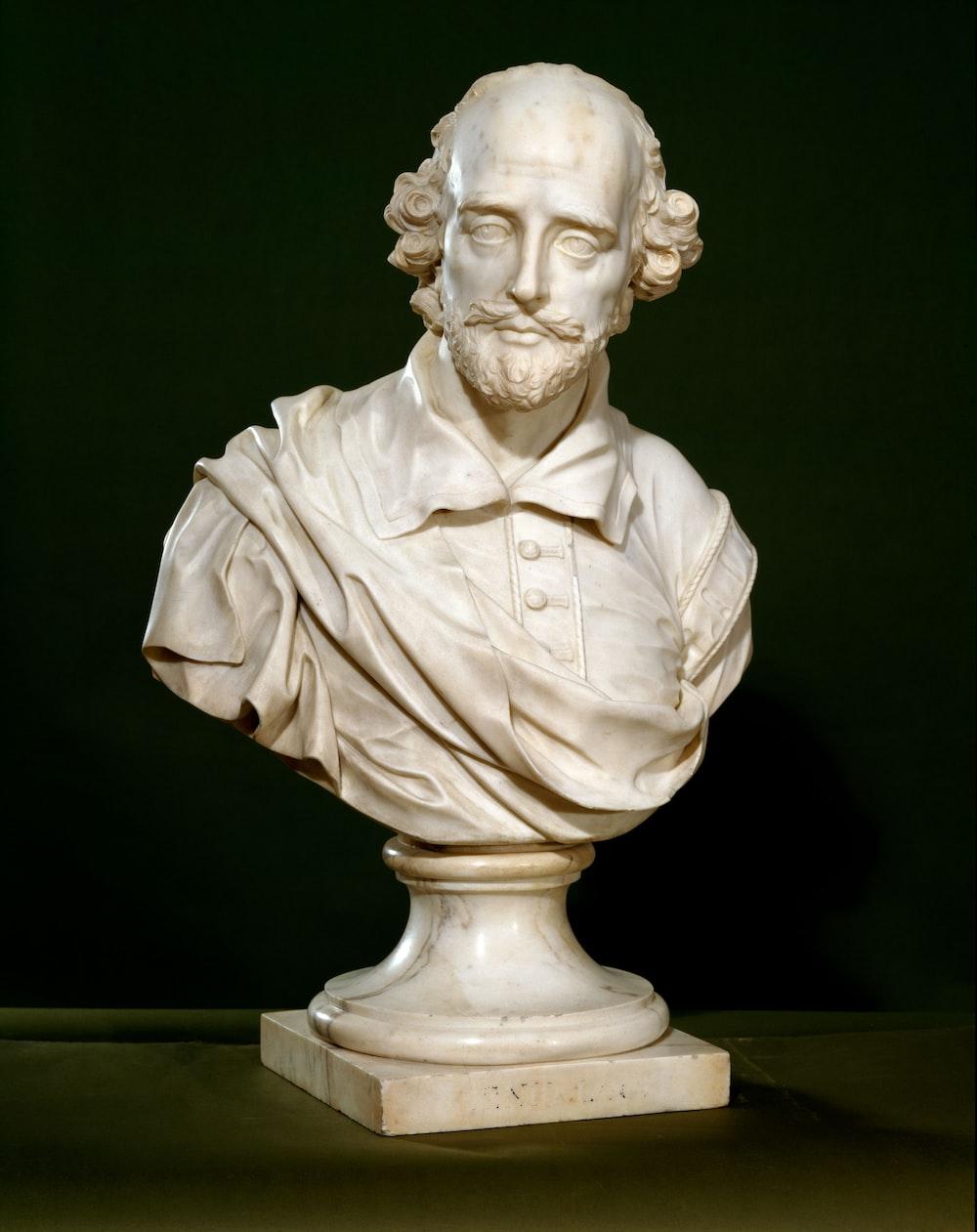 white ceramic man head bust