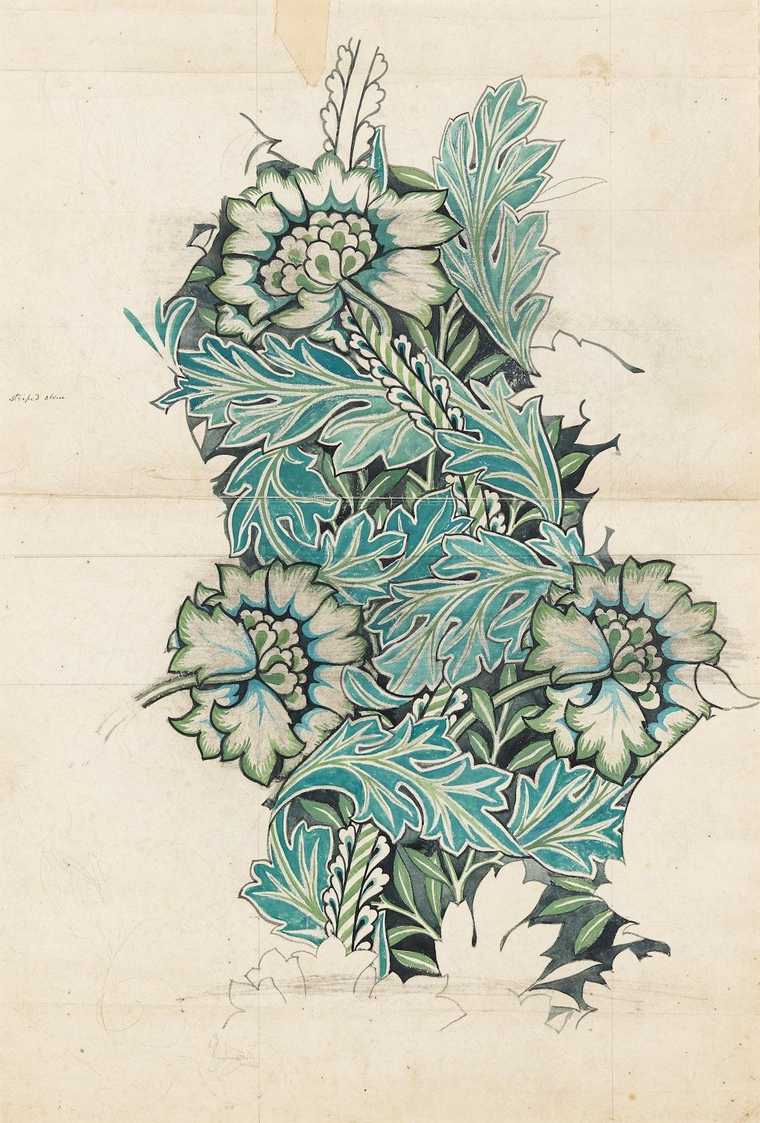 Anemone, 1876. Watercolour, woven fabric design. Artist: William Morris