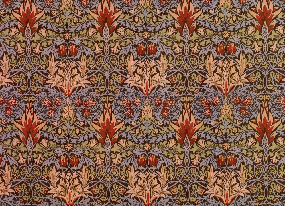 brown and beige floral textile