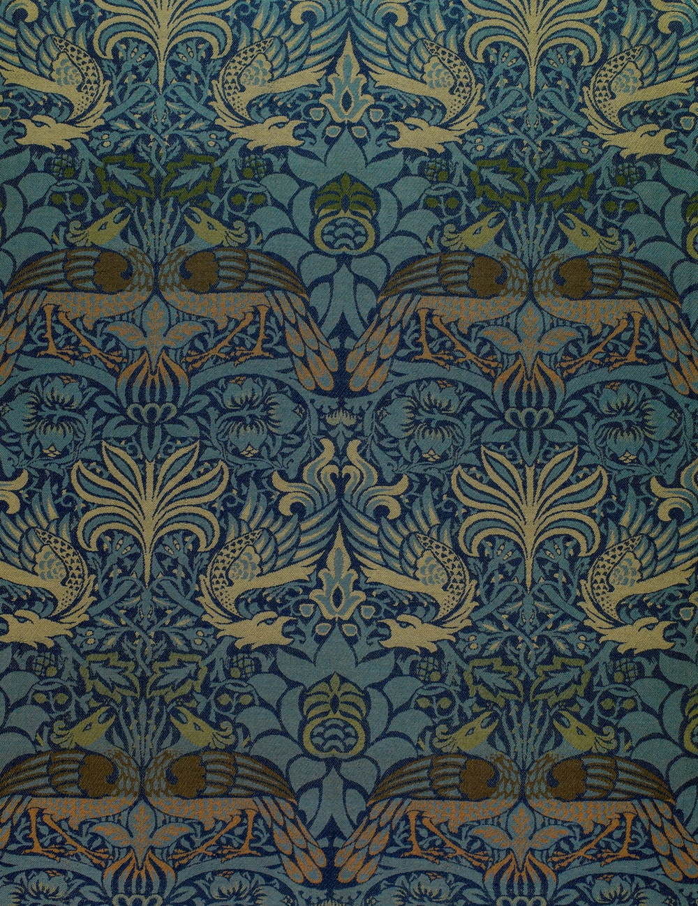 blue and white floral textile