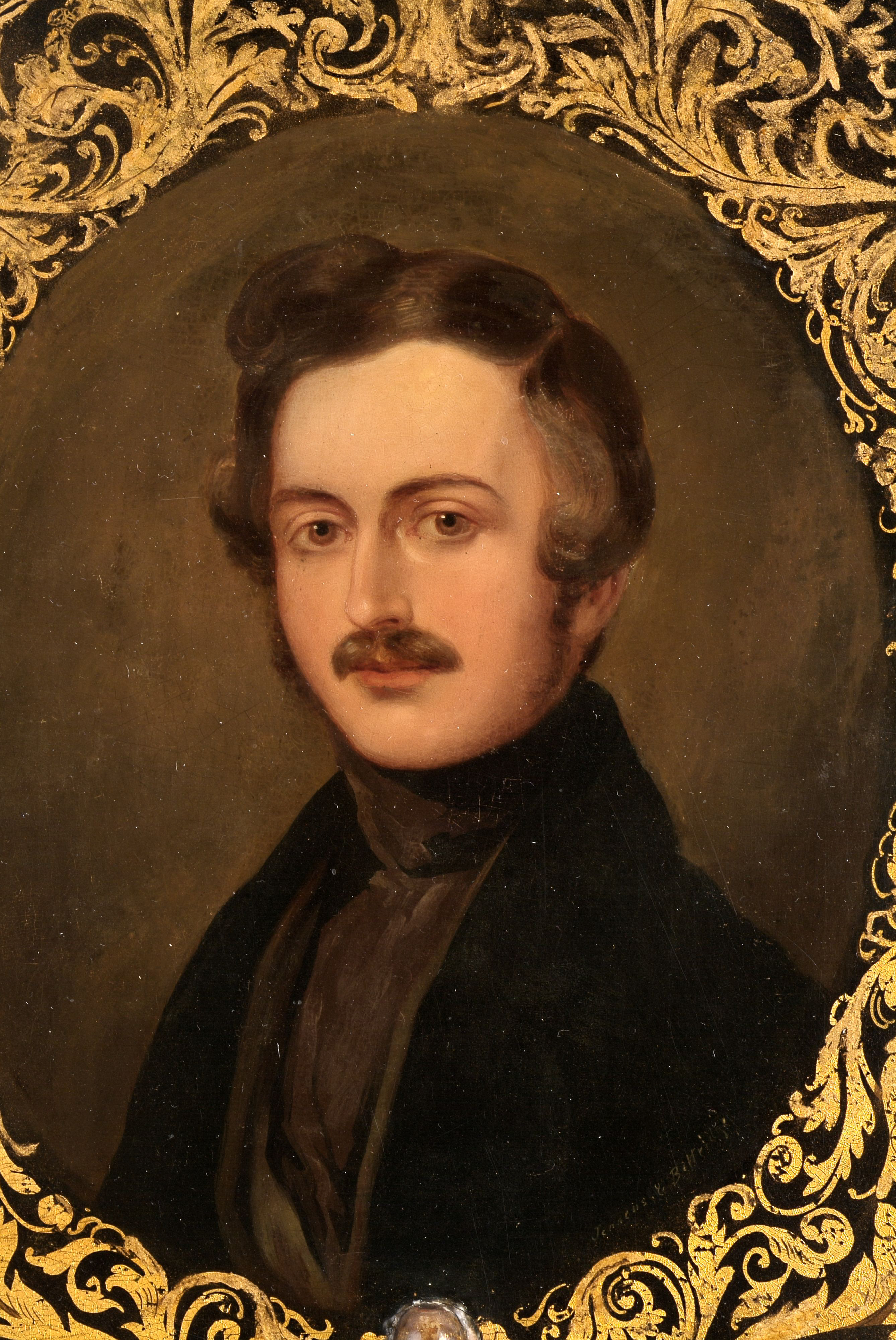 Detail of Portrait of Prince Albert on Papier Mâché Face Screen, 1840. One of a pair, probably made to commemorate the royal wedding of Queen Victoria and Prince Albert in 1840.