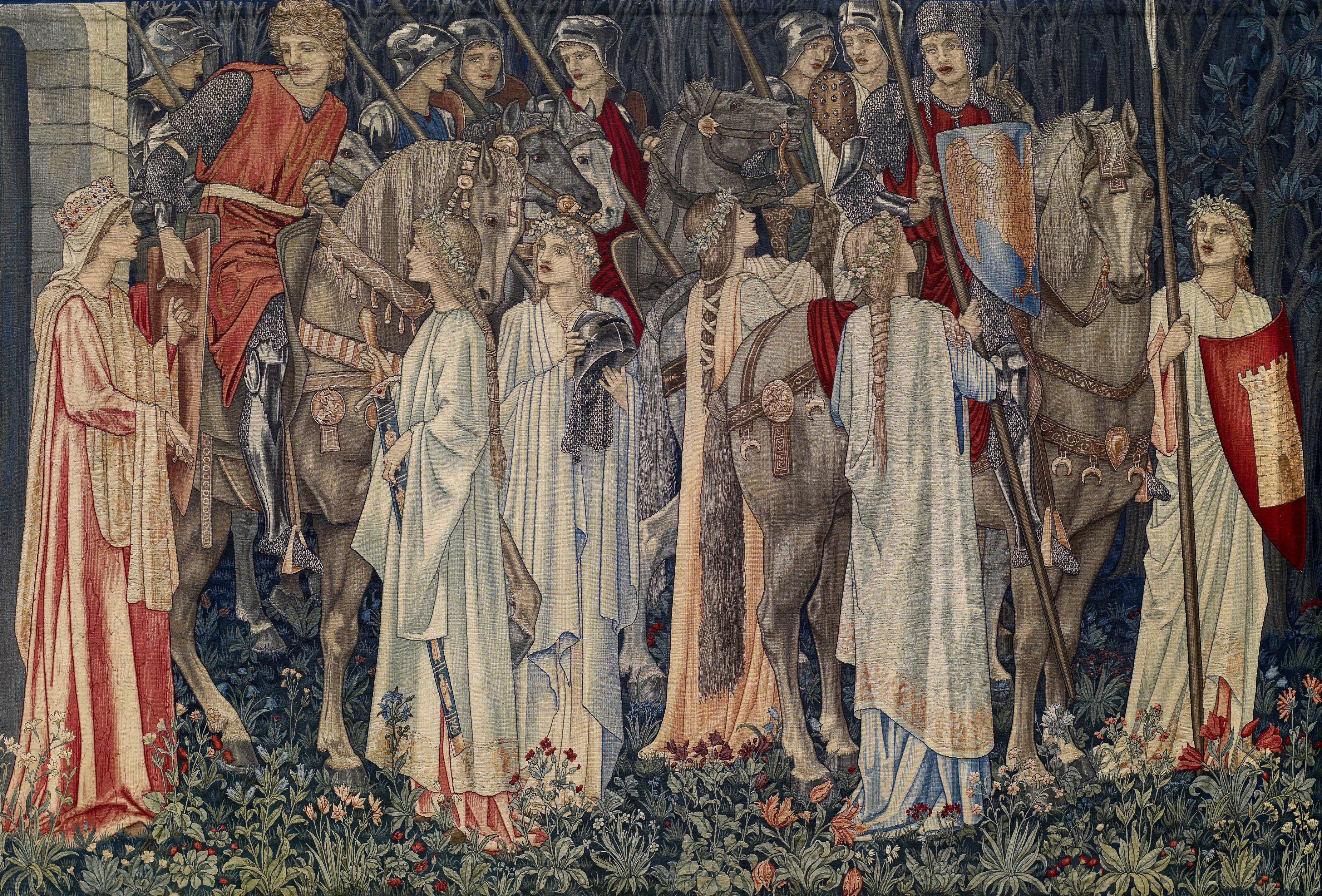Quest for the Holy Grail Tapestries - Panel 2 - The Arming and Departure of the Knights, 1895-96